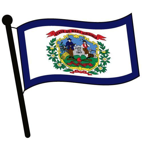 500x500 West Virginia Waving Flag Clip Art
