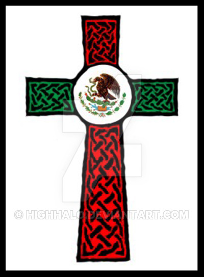 400x543 Celticcross Mexican Flag Tat By Highhalo