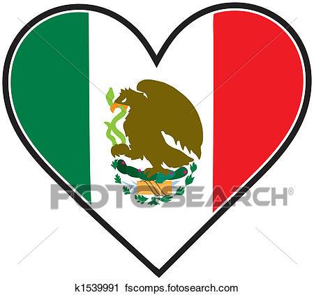 450x423 Clipart Of Mexico Heart Flag K1539991