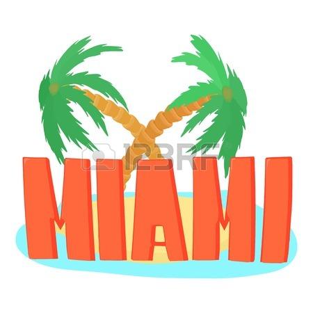 450x450 Miami Palm. Cartoon Illustration Of Firework Vector For Web