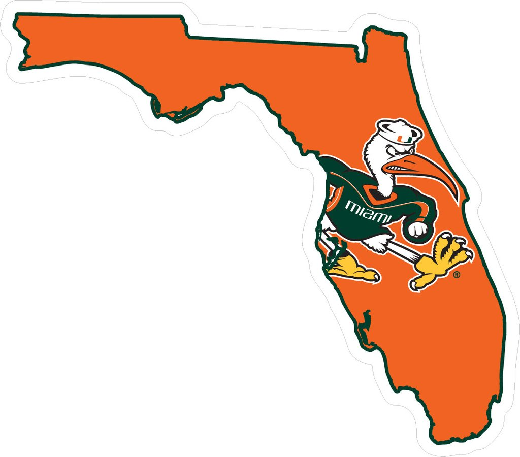1024x900 Miami Hurricanes Decal State Of Florida With Sebastian Caneswear