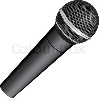 320x317 Icon With A Black Microphone Vector Illustration Stock Vector