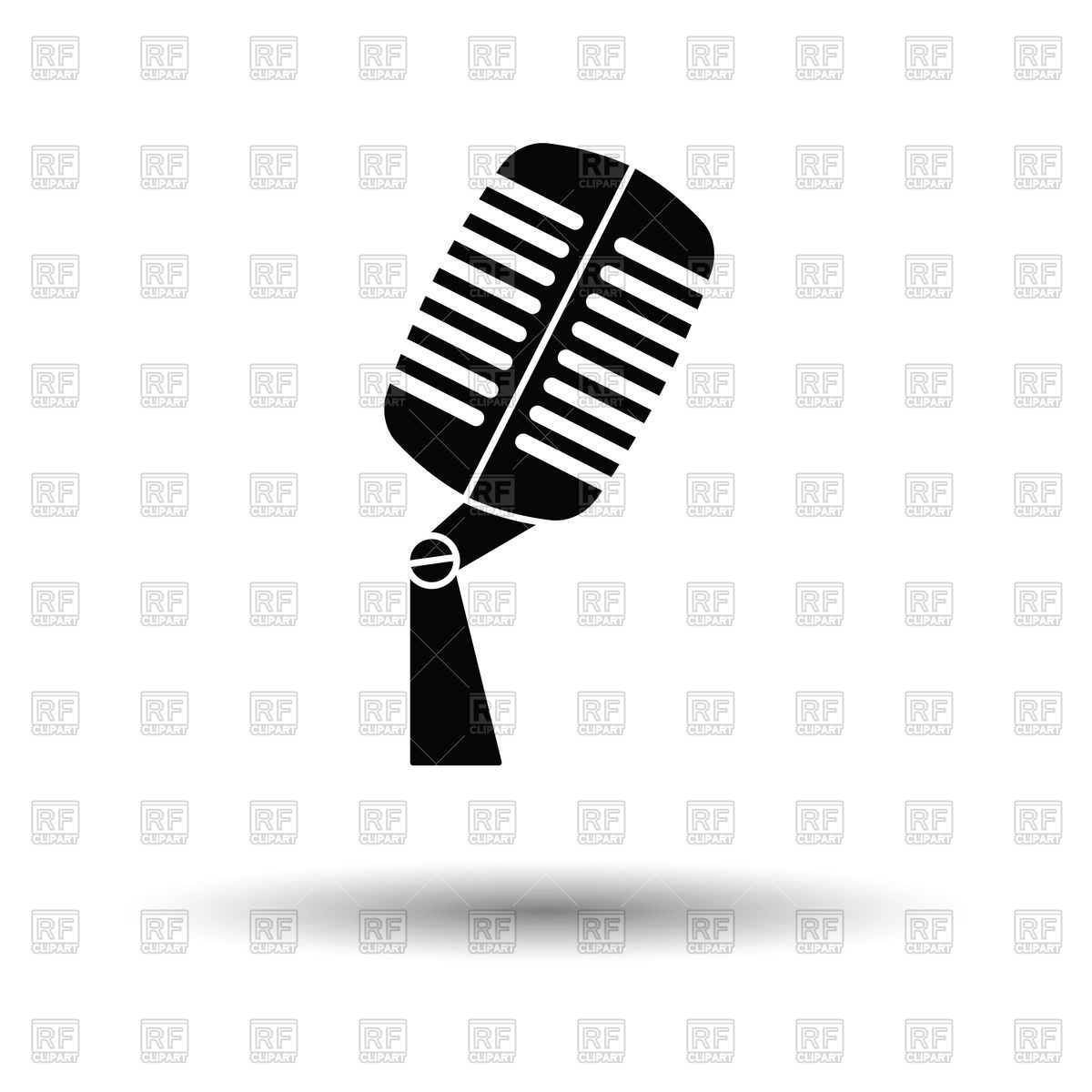 1200x1200 Old Microphone Icon With Shadow Royalty Free Vector Clip Art Image