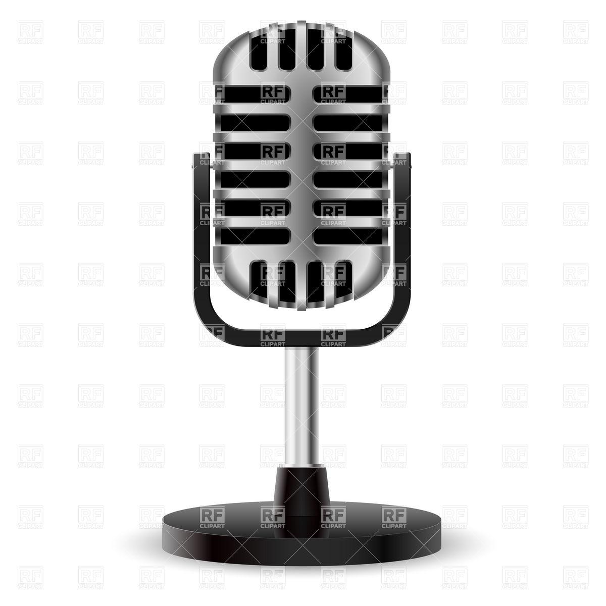 1200x1200 Realistic Retro Studio Microphone Royalty Free Vector Clip Art