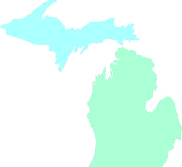 600x550 Michigan Map Clean Teal Clip Art