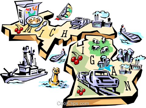 480x355 Michigan Vignette Map Royalty Free Vector Clip Art Illustration