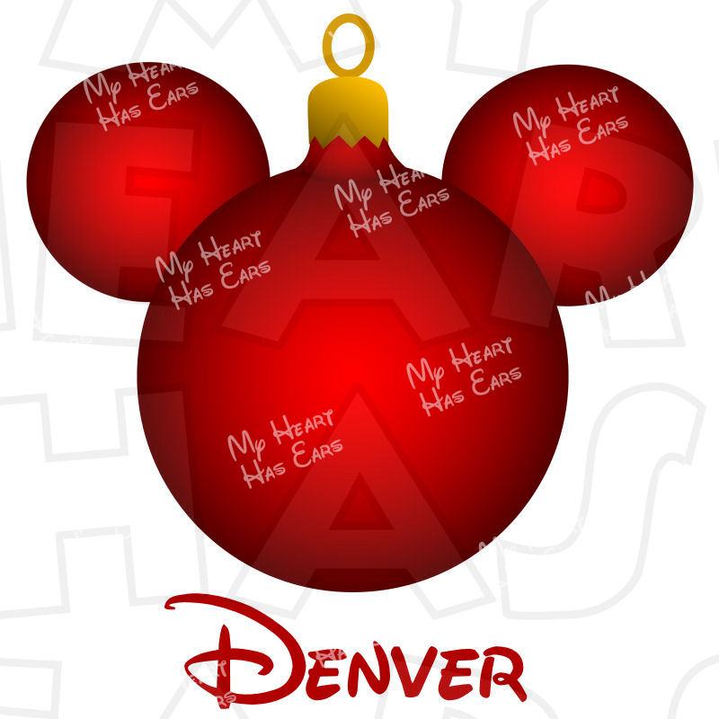 800x800 Christmas Ornament Mickey Mouse Ears Head Instant Download Digital