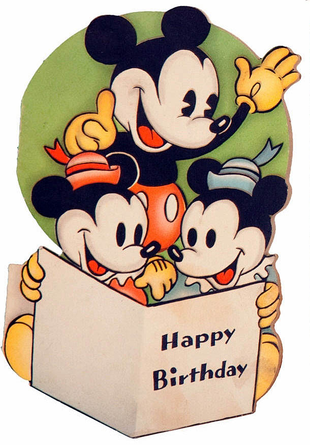 610x875 Vintage Mickey Mouse Birthday Card Clip Art ~ Happy Birthday