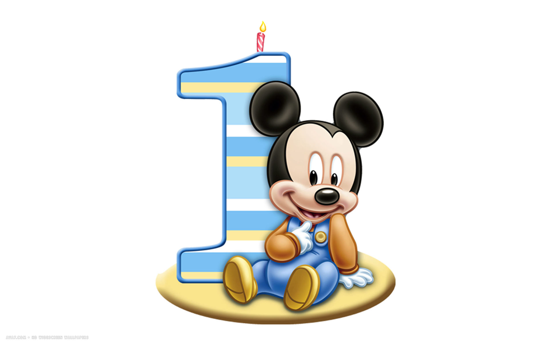 1920x1200 Happy Birthday 1st Number Candle Mickey Mouse Disney White Simple