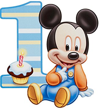 328x355 Baby Mickey Mouse One Year 1st Birthday Edible Image