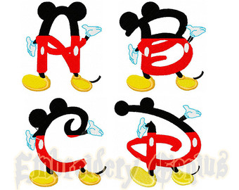 340x270 Mickey Alphabet Embroidery Font Monogram 26 Designs (4x4) DISNEY