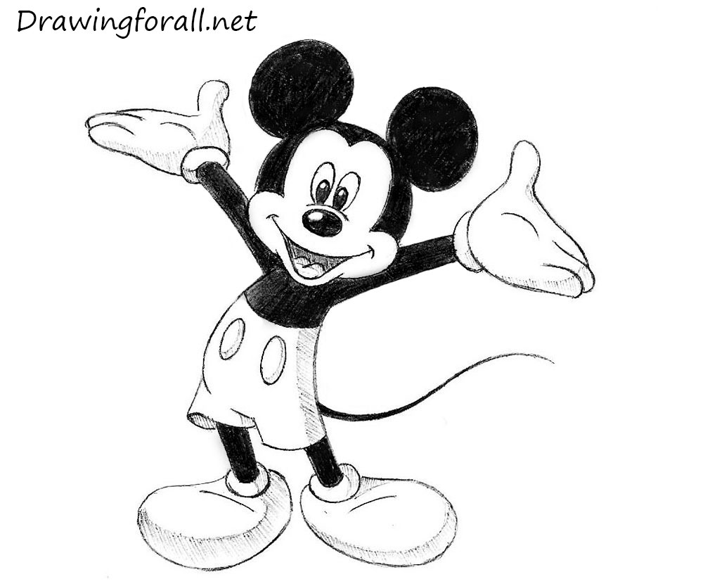 1000x833 How To Draw Mickey Mouse