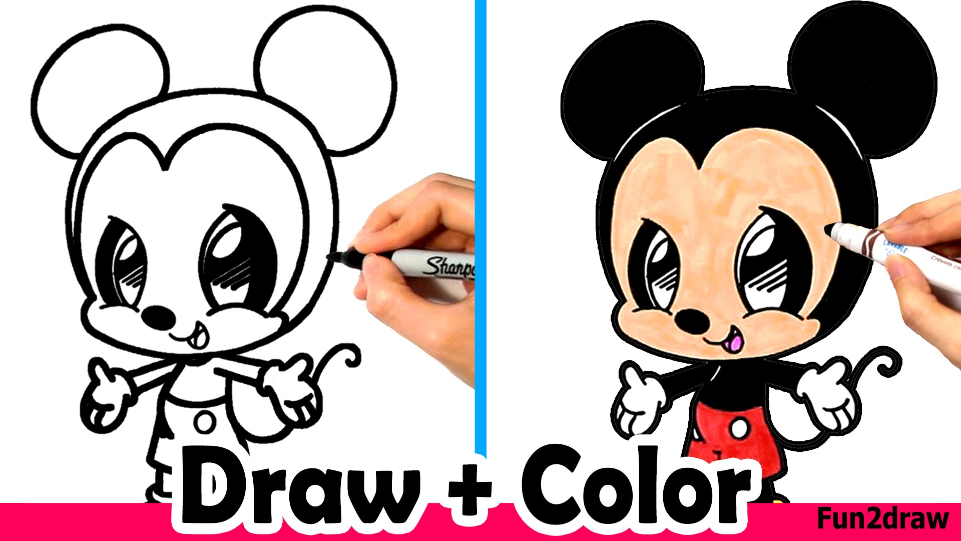 1920x1080 How To Draw Mickey Mouse Cute + Easy And Color With Crayola