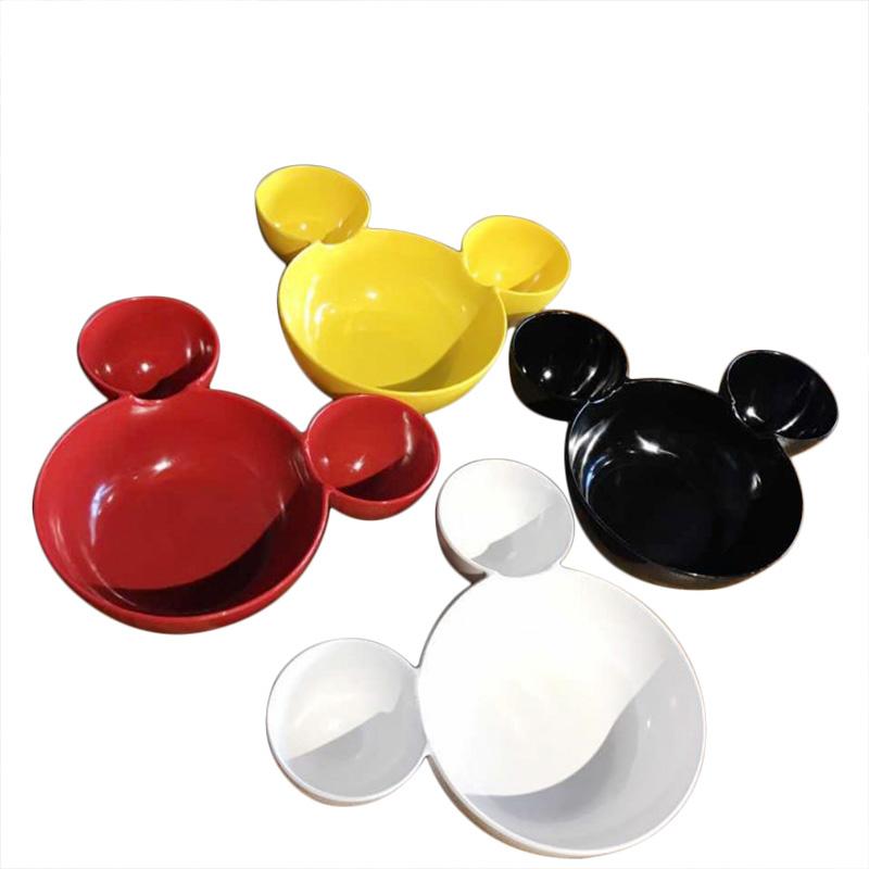 800x800 New Disney Mickey Mouse Shaped Plastic Bowl Cartoon Lattice Plate