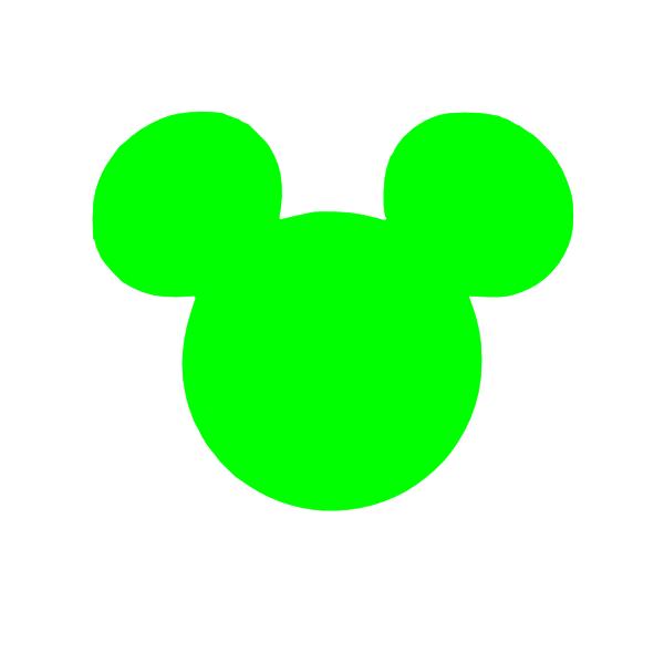600x600 Green Mickey Head Clip Art