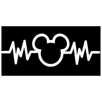 350x350 Mickey Mouse Heartbeat 6 White Car Truck Vinyl Decal