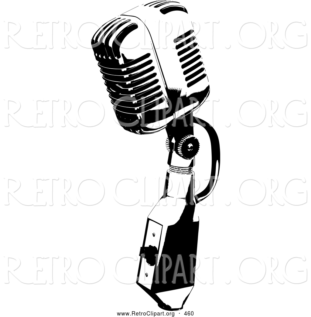 1024x1044 Retro Clipart Of A Vintage Black And White Microphone Speaker,