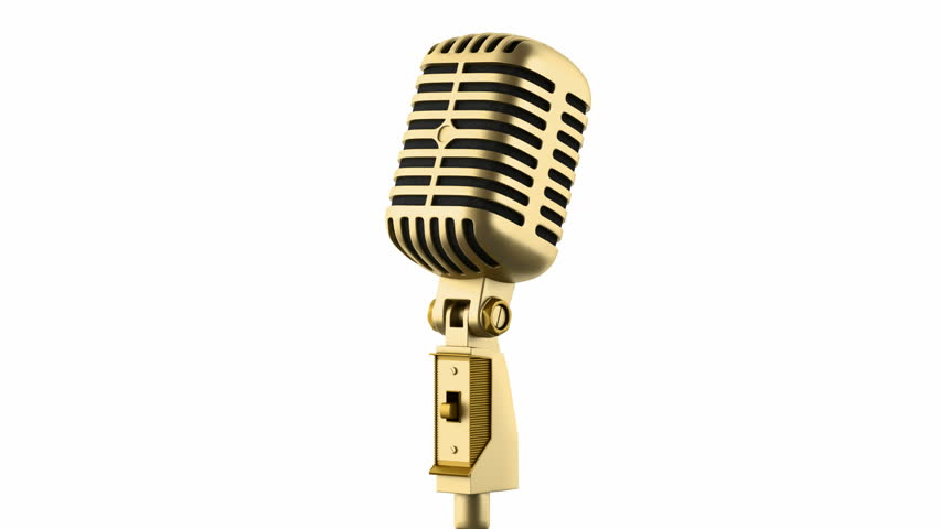 852x480 Golden Vintage Microphone Loop Rotate On White Background Stock