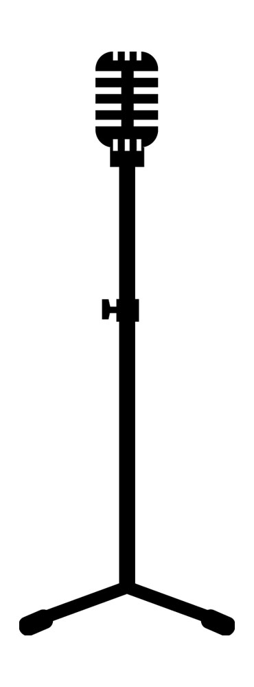 370x999 Vintage Microphone Stand Clip Art