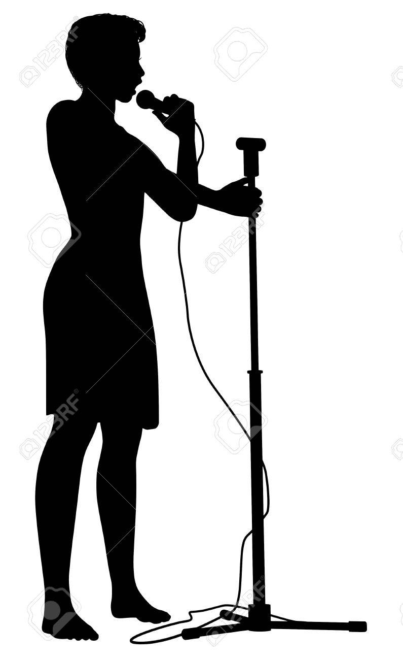 795x1300 Illustration Of A Girl Holding A Microphone And Microphone Stand