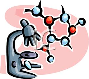 300x269 Free Clipart Image A Microscope And A Molecule