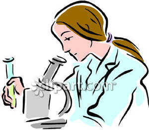 300x262 Woman With A Test Tube Looking Under A Microscope Royalty Free