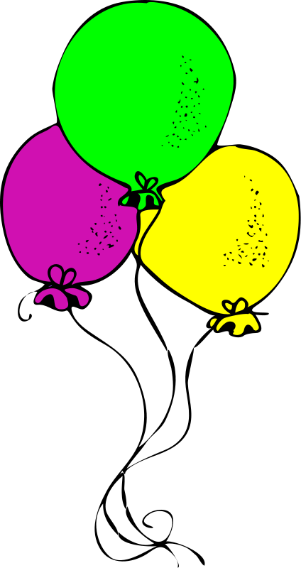 424x800 Birthday Balloons Clipart