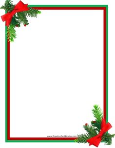 236x305 This Free, Printable Christmas Border Features Festive Red Ribbons