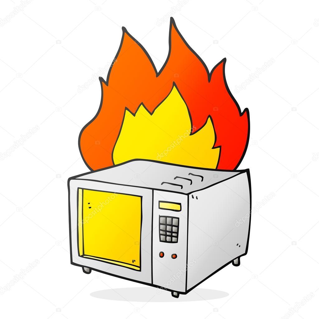 1024x1024 Cartoon Microwave On Fire Stock Vector Lineartestpilot