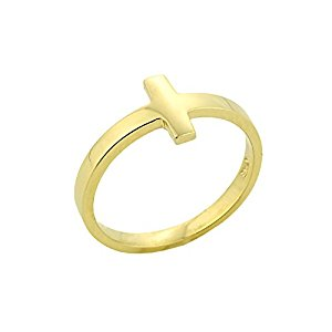 300x300 Solid 10k Yellow Gold Mid Finger Band Sideways Cross