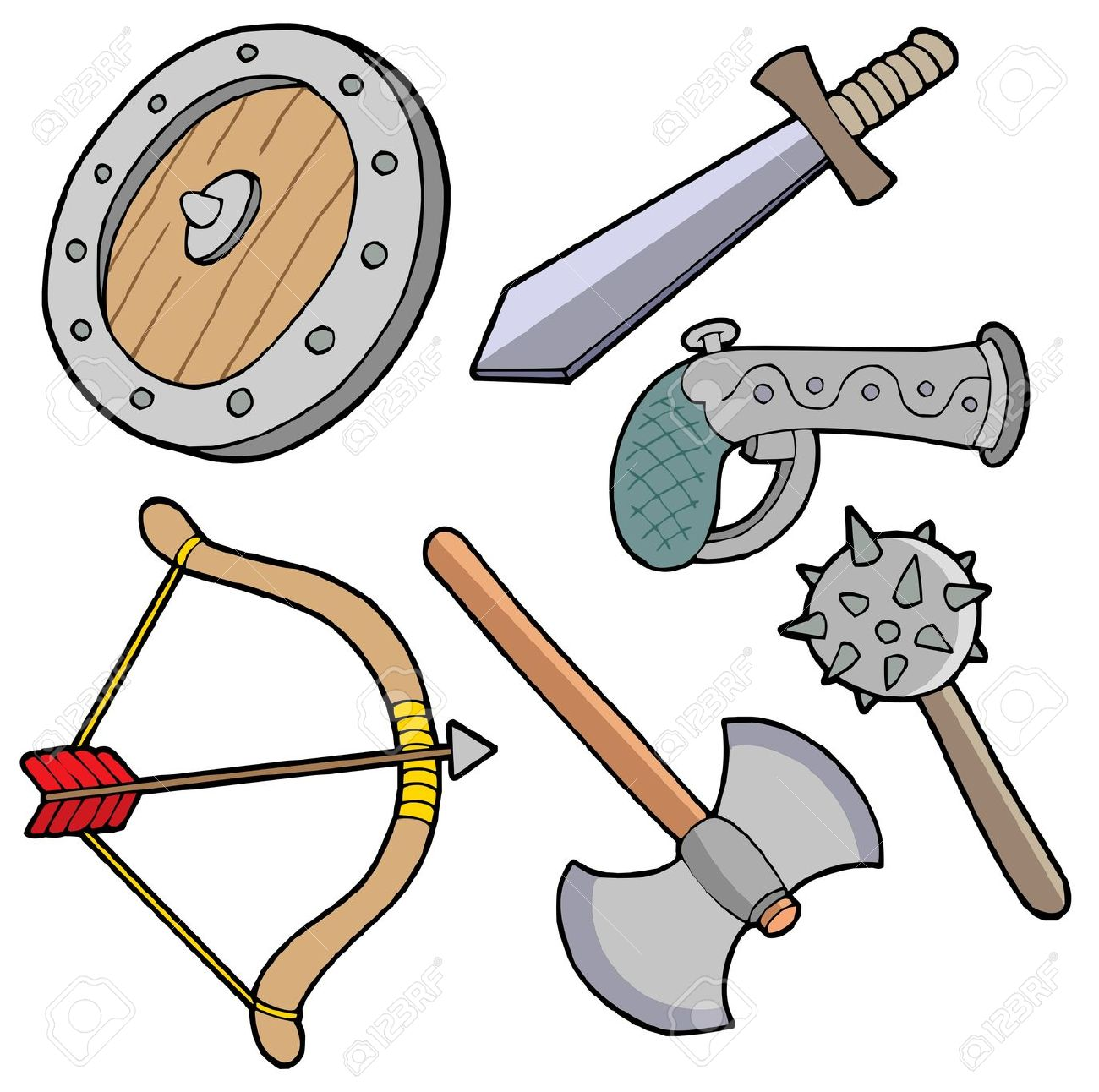 1300x1292 Medieval Weapons Clipart