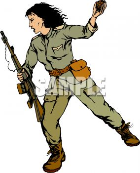 284x350 Female Soldier Throwing A Hand Grenade