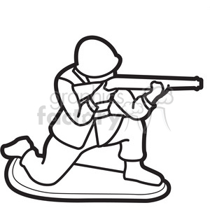 300x300 Royalty Free Black White Toy Military Soldier Illustration Graphic