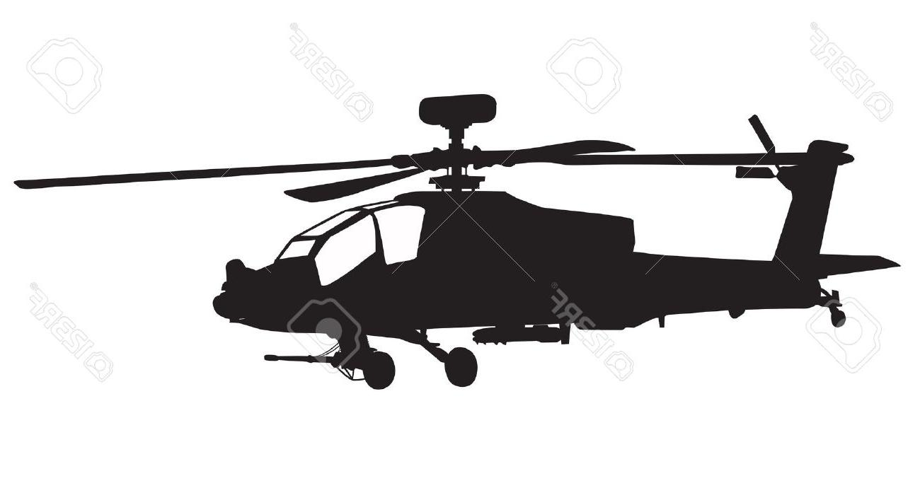 1300x707 Hd Vector Silhouette Of Ah Apache Longbow Helicopter Stock Photo