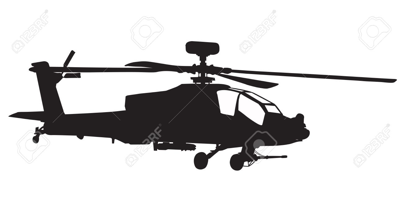 1300x707 Vector Silhouette Of Ah 64 Apache Longbow Helicopter Stock Photo