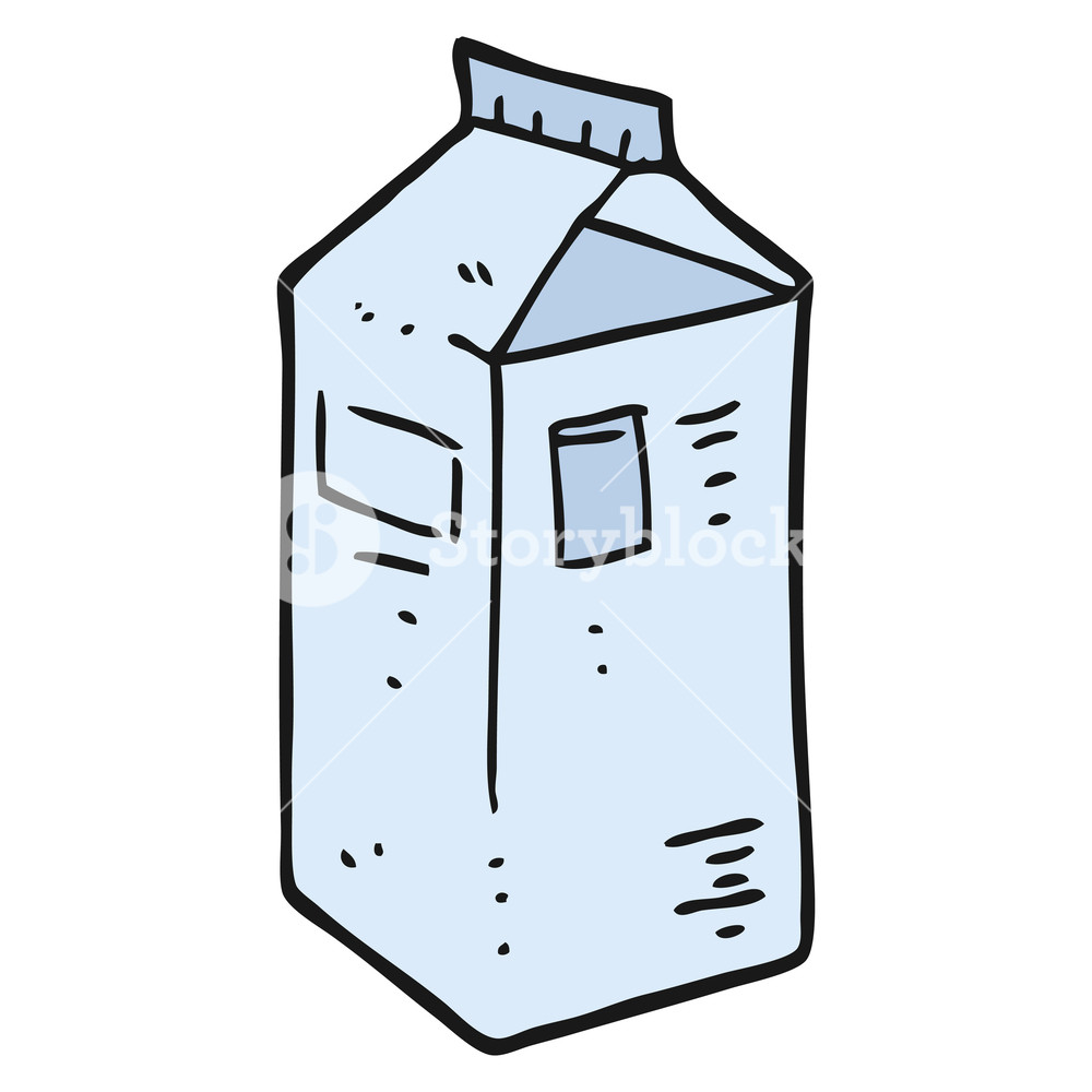 1000x1000 Freehand Drawn Cartoon Milk Carton Royalty Free Stock Image