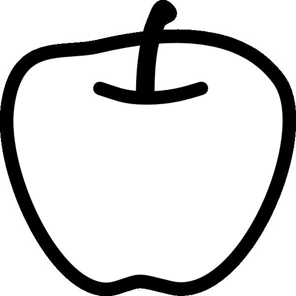 600x600 Apple Black And White Clip Art