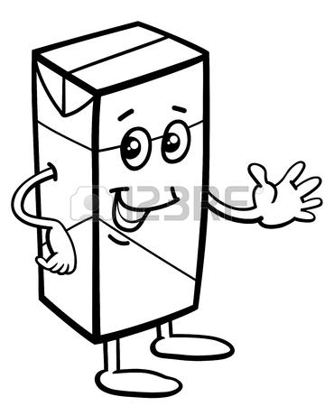 370x450 Black And White Cartoon Illustration Of Carton Of Milk Or Juice