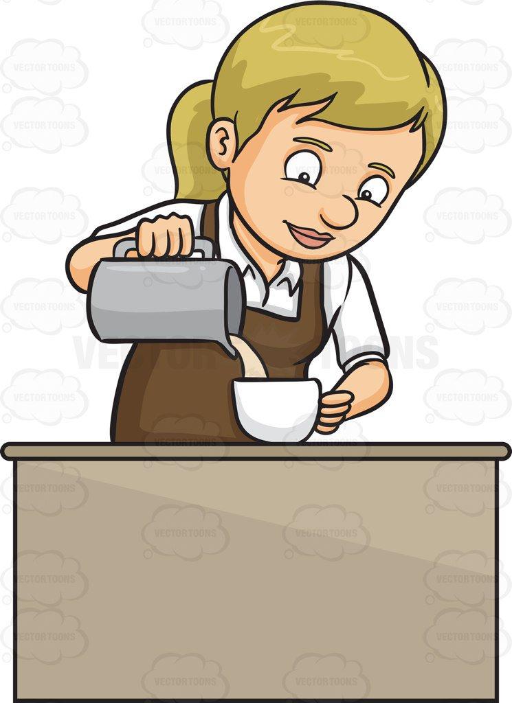 745x1024 A Lady Barista Pouring Hot Milk In A Mug Cartoon Clipart
