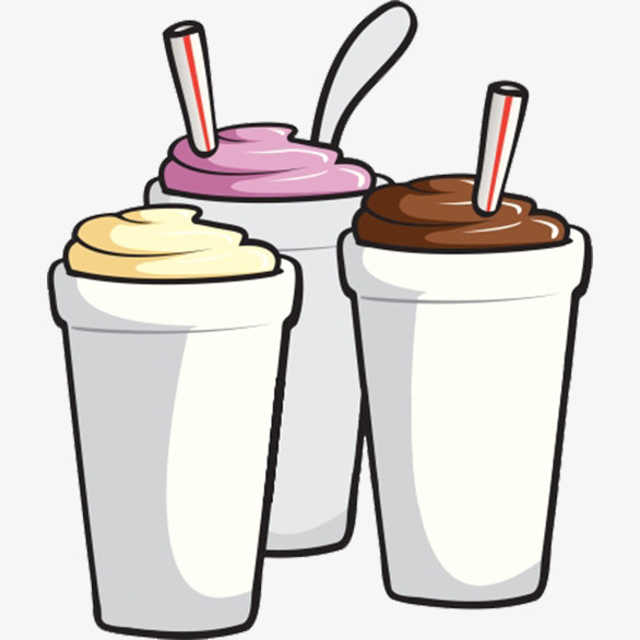 586x586 Three Cartoon Milkshake, Vanilla Milkshake, Milkshake, Strawberry