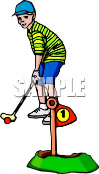 199x350 Boy Playing Miniature Golf