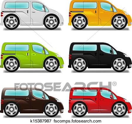 450x421 Clip Art Of Cartoon Minivan With Big Wheels, Six Different Colors