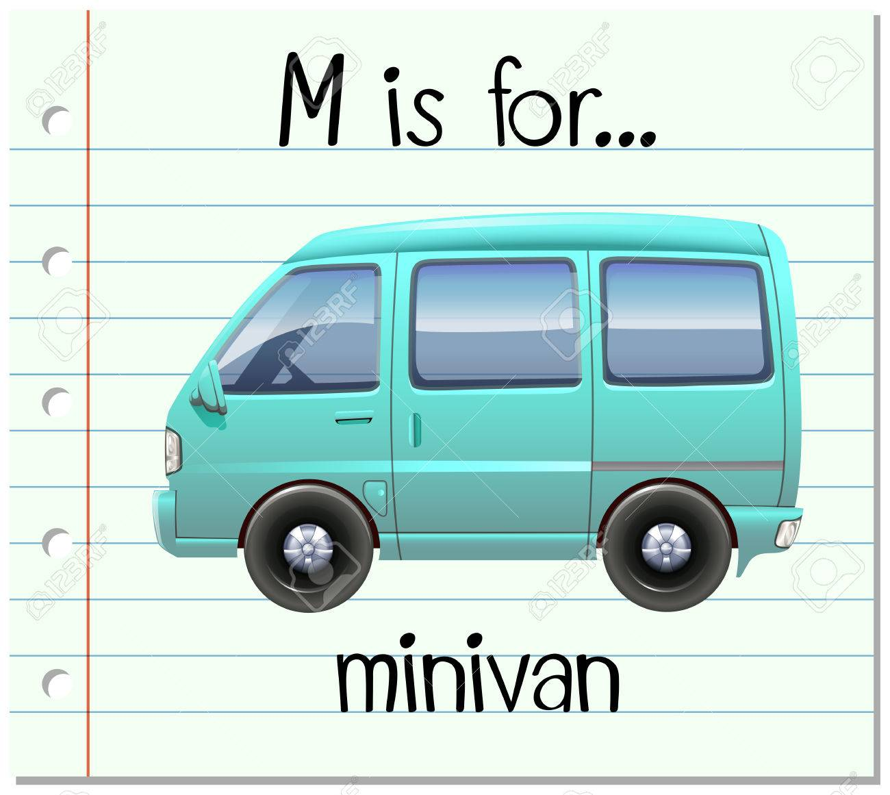 1300x1161 Flashcard Letter M Is For Minivan Illustration Royalty Free