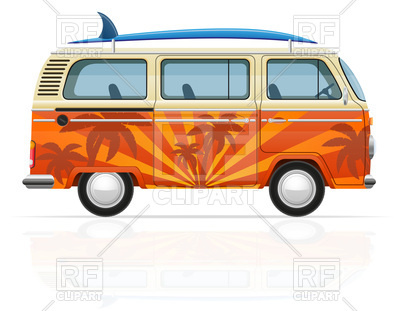 400x311 Retro Minivan With A Surfboard