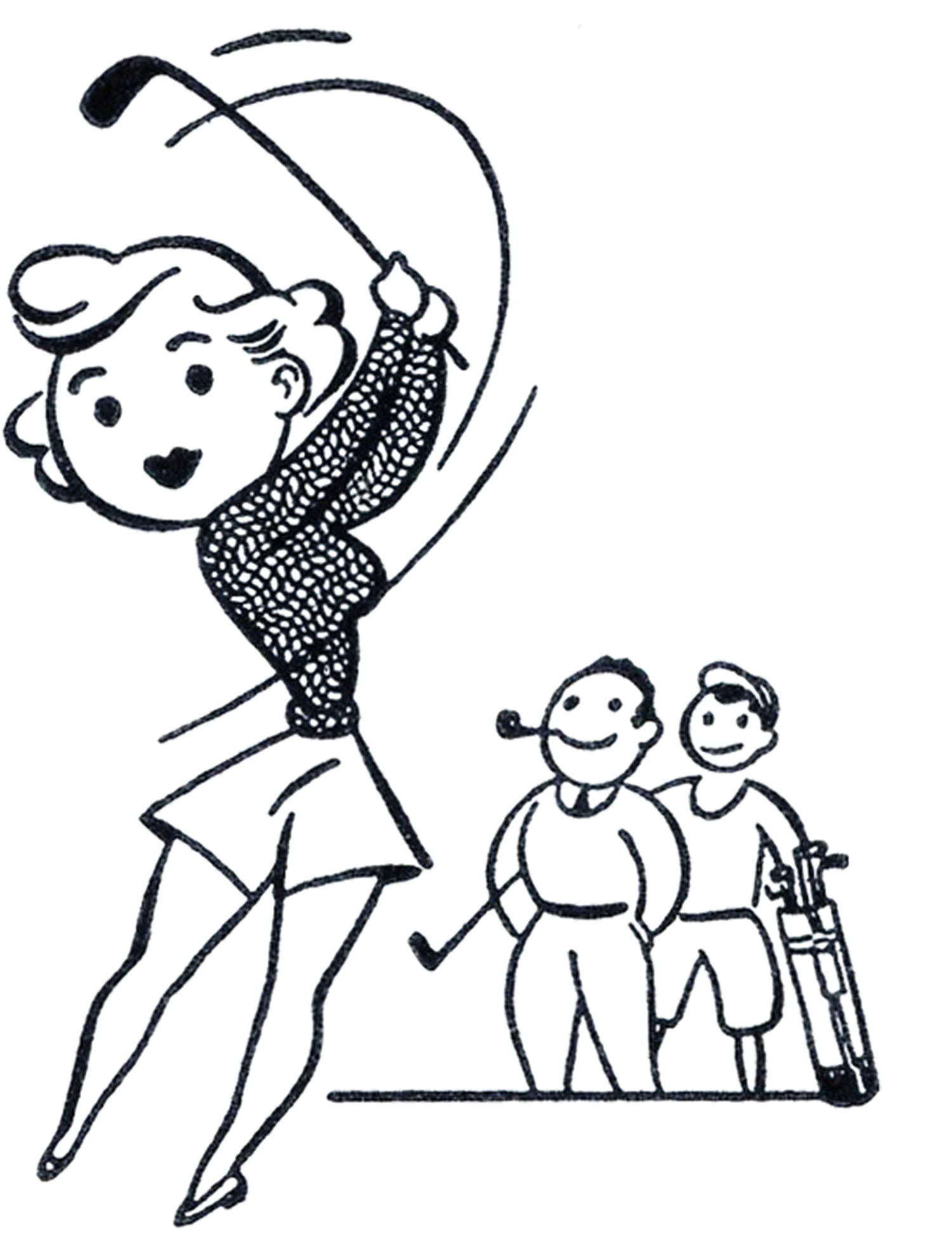 1500x1953 Retro Golf Lady Clip Art Graphicsfairy