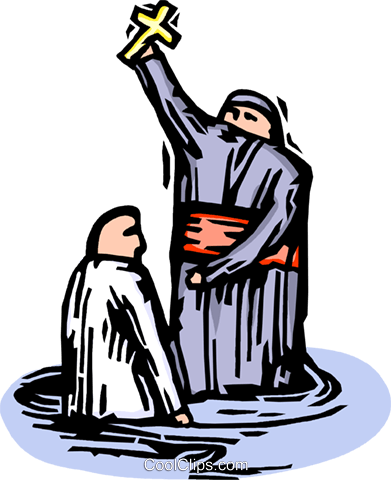 391x480 Priest Performing A Baptism Royalty Free Vector Clip Art