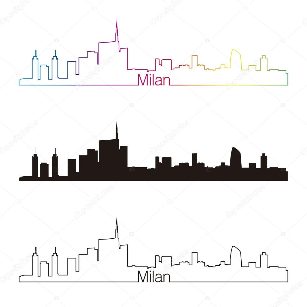 1024x1024 Milan Skyline Linear Style With Rainbow Stock Vector