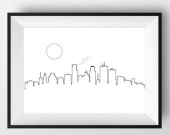 340x270 Minneapolis Skyline Minneapolis Print Minneapolis Poster