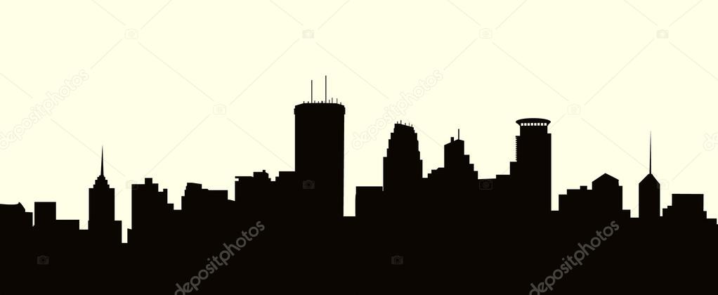 1022x420 Minneapolis Skyline Stock Vectors, Royalty Free Minneapolis