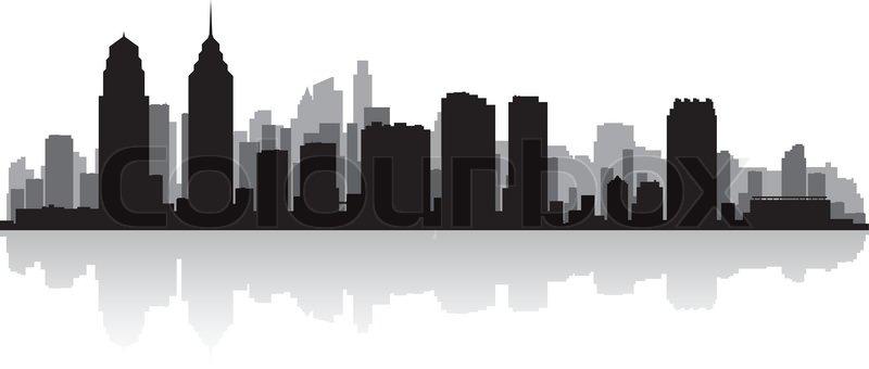 800x340 Philadelphia Usa City Skyline Silhouette Vector Illustration
